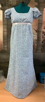 Regency Style Blue Cotton Gown With Pink Floral Design