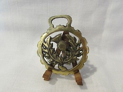 Vintage Horse Brass Bridle Medallion - Thistle Flower w/leaves Made in England
