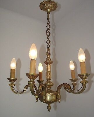 Lovely French Antique Bronze 5 Sweeping Arm Classic Empire Style Chandelier 810