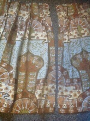 HEALS Vintage Pair of Curtains David Bartle Fabric WATER GARDEN Excellent