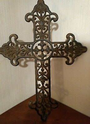 Vintage Looking Gothic Cast Iron Old World Cross With Antiqued Rust Patina