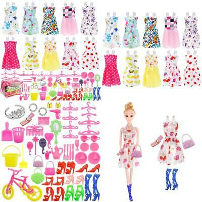 JANYUN Total 66pcs - 10 Pack Clothes Party Gown Outfits for Dressing up Barbie D