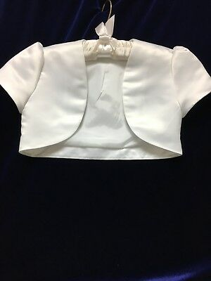 Short Sleeved White Satin Bolero Ideal First Holy Communion Age 10 yrs