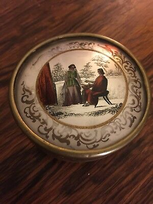 Antique 19th Century French Eglomise Dragees Reverse Glass Painted Snuff Box
