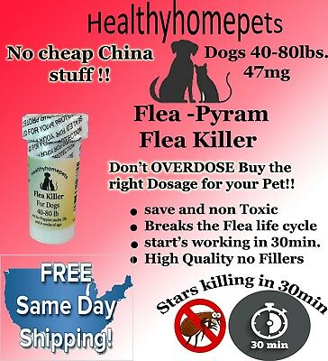 100 CAPSULES RAPID Flea Killer Capsules for Dogs 40-80 Lb 47Mg SAME DAY SHIPPING