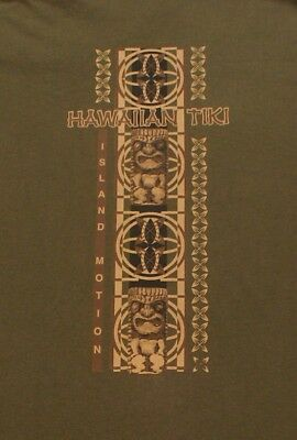 Hawaii Hawaiian Tiki Island Motion Size 3XL XXXL Olive T-shirt