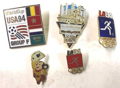 1994 World Cup USA And Others Soccer Five (5) Pins Lot11