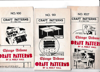 3 pc lot Vintage Neely Hall Woodworking Craft Patterns 1940s 900 901 1027