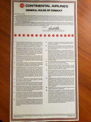 Continental Airlines      ''general Rules Of Conduct''      1990