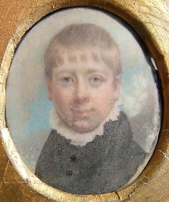 Fine Antique Georgian Portrait Miniature Painting Boy Sky Background Or. Frame