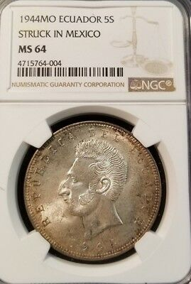 1944 Mo ECUADOR SILVER 5 SUCRE STRUCK IN MEXICO NGC MS 64 BEAUTIFUL COIN