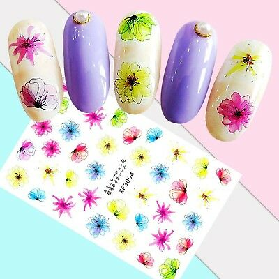 Nail Art Stickers Transfers 3D Self Adhesive Multicoloured Flowers (XF3004)