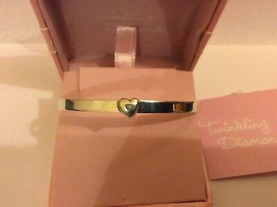Brand New Twinkling Diamonds Sterling Silver 925 Childs Heart Expanding Bangle