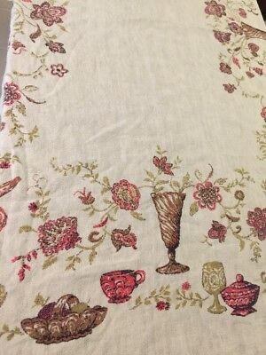 """Vintage Printed Natural Linen Tablecloth 52""""x61"""" Pink & Green Pattern"""