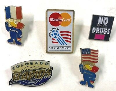 1994 World Cup USA And Others Soccer Five (5) Pins Lot25