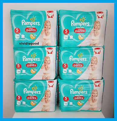 LOT DE 216 (6x36) COUCHES-CULOTTES PAMPERS BABY-DRY PANTS TAILLE 5 (12-17 kg)
