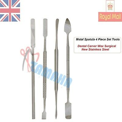 Metal Spatula 4 Piece Set Tools Dental Carver Wax Surgical -Dental Lab Tools Eba