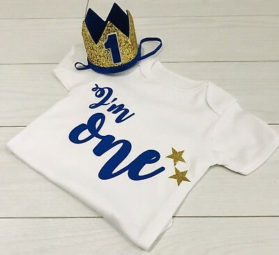 Luxury Boys First 1st Birthday Outfit Cake Smash Set Vest T-Shirt Top + Crown