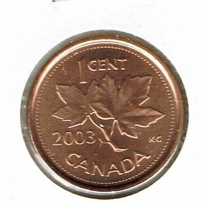 2003-P NE Uncirculated Canadian Steel Core One Cent Coin!