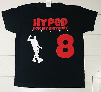Boys Kids Birthday T Shirt Top Hyped Floss Flossing Gamer Any Age Party Present