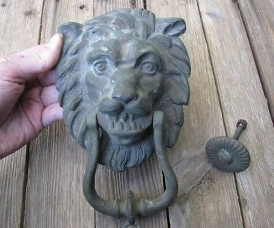 Old Large Reclaimed Brass Lion Door Knocker with Strike Plate