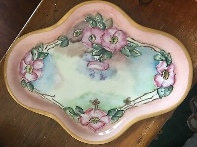 "Antique Hand Painted Porcelain Vanity Tray 16"" Floral Gold Trim"