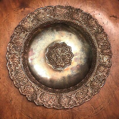 Antique Ottoman Silver Turkish Plate Dish Islamic Arabic Style