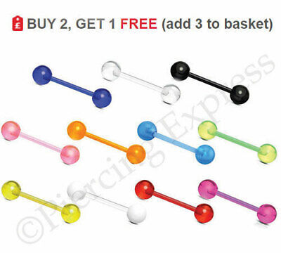 Tongue Bar Straight Barbell Flexible 14G 16mm All Colours Balls PTFE UV ACRYLIC