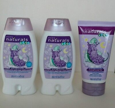 AVON NATURALS Kids Good Night Lavender BODY WASH + LOTION LOT OF 3  FULL SIZE