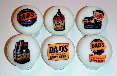 """Very Nice Set of 6 Dad's Rootbeer Glass 1"""" Logo Marble With Stands"""