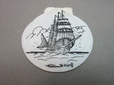 Vintage Scrimshaw Nautical Art on Sea Shell Signed Thurmond King~Estate Find