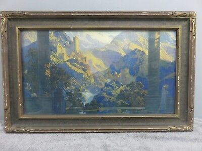 Large Antique MAXFIELD PARRISH Framed lithograph, House of Art NY Print ROMANCE