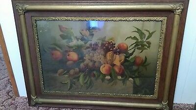 Fruit On The Table 19th Century Frame  Gold All Natural Wood needs tlc
