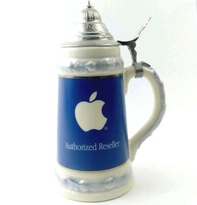 "Apple Computer Beer Stein  Authorized Reseller Inacom Blue White 9"" w Lid RARE"
