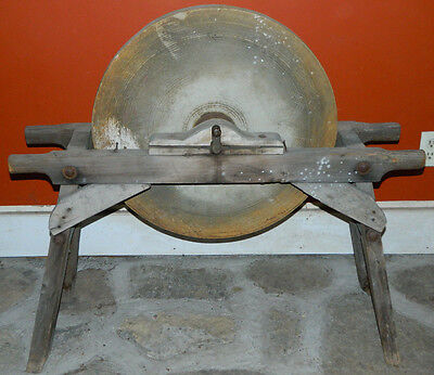Antique Grinding Stone Wheel Hand/Foot & Pulley 1883 Blacksmith Sharpening