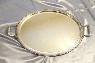 """RARE Christofle MALMAISON Silver-plated Oval Serving Tray with handles 20 7/8"""""""