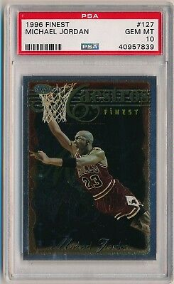 MICHAEL JORDAN 1996-97 Finest #127 PSA 10 GEM MINT CHICAGO BULLS HOF
