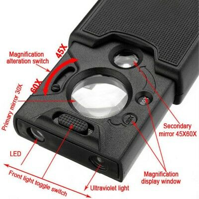 30x 45x 60x LED UV Lighted Magnifier Jewelers Loupes Loop Magnifying Glass