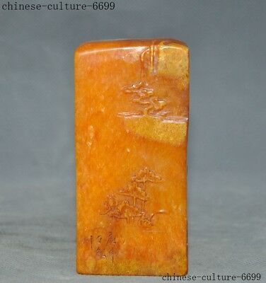 Tianhuang Shoushan Stone carve Shanzi Pine tree Old man statue Seal stamp signet
