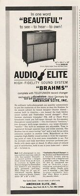 1956 American Elite New York Audio Elite Brahms Radio Phonograph Telefunken Ad