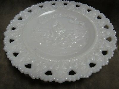 1900's Milk White Glass Lace Edge Plate Little Hen Said and Dish as She Would