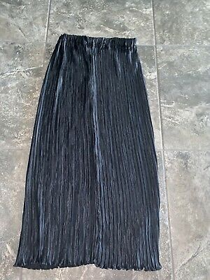 George F Couture Black Pleated Full Length Skirt Vintage Women's Sz 12
