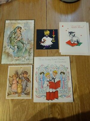 Vintage Christmas Card Unused lot of 5 cards mother and child, kitten, choir