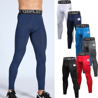 Mens Compression Tights Long Pants Trousers Running Cycling Gym Skinny Bottoms