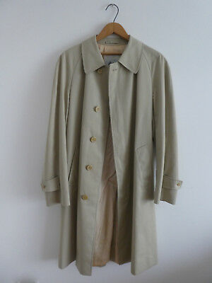 VINTAGE Mens AQUASCUTUM Beige TRENCH COAT Made in England LARGER SIZE