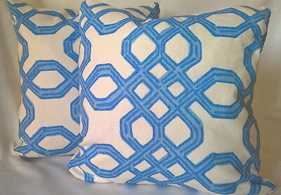 """Lilly Pulitzer Lee Jofa WELL CONNECTED Tide Blue Interlined Pillow Cover 18"""""""