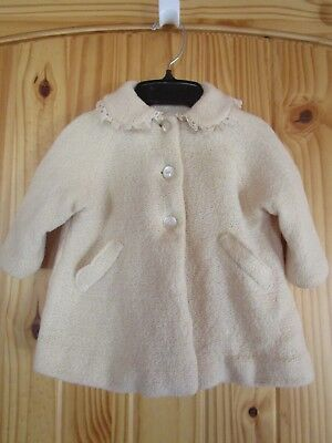 Vintage Infant Toddler Handmade Lined Coat Jacket 1960s (Minor Repair Needed)