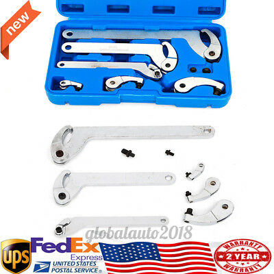 Adjustable Hook & Pin Wrench Spanner Tool 5 - 120mm Nut Adjustment 6pc Set USA