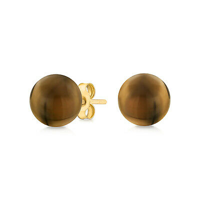 Gemstone Brown Smoky Topaz Ball Stud Earrings 14K Real Yellow Gold