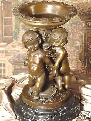 *  Bold Bronze Metal on Marble Ornate Candlestick Children Babes Baby Gift Art